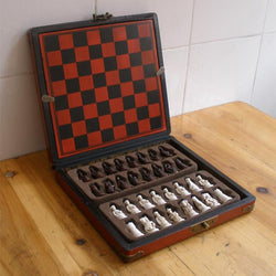 Man Cave - Chess Set Of Wooden Antique Miniature Chess Board Pieces With Storage Box