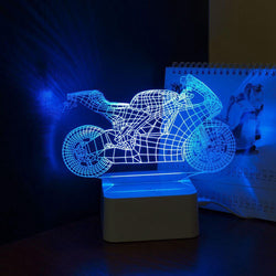 Man Cave - Dimmable Art Deco Crystal LED 3d Motorcycle Touch Lamp