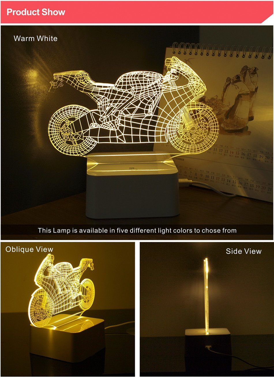 Dimmable Art Deco Crystal Led 3d Motorcycle Touch Lamp