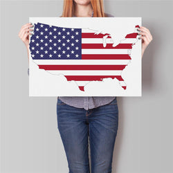 Man Cave - USA America Flag Map Movie Posters (Kraft Paper - 42x30cm)