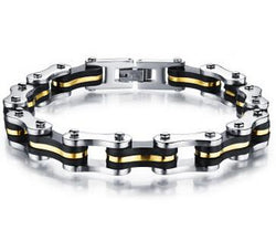 Men Accents - 22.5cm*9mm Stainless Steel Silicone Motorcycle Chain Men's Bracelets