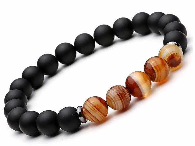 2pcs/set Black Mantra Prayer Agate Beads Buddha Bracelet for Women and Men