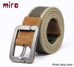 Men Accents - Fashion Pin Buckle Canvas Cowboy Knitted Strap Casual  Striped Belt
