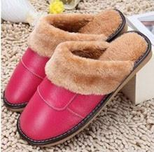 Men Accents - Plush Warm Indoor Genuine Leather Home Slippers