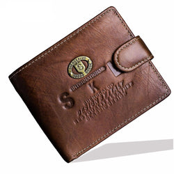 Men Accents - Real Genuine Cowhide Leather Bifold Clutch Mens Wallet Coin Package Purse Pouch ID Card Holder
