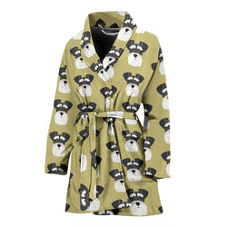 Miniature Schnauzer Dog Pattern Print Women's Bath Robe-Free Shipping