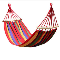 Outdoor - 260 X 80cm Canvas Double Spreader Bar Hammock Garden Swing Hanging Bed Prevent Rollover