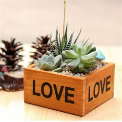 "Outdoor - Rustic ""Love"" Natural Wooden Plant Flower Bed Pot Box Case Garden Planter"