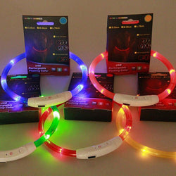 Pets - Rechargeable USB LED Flashing Light Band Belt Safety Pet Dog Collar