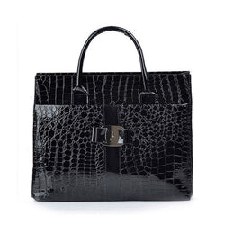 Purses/Wallets - Crocodile Pattern Handbag With Metal Logo