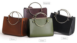 Purses/Wallets - Genuine Leather Retro Ring Designer Women Messenger Bag
