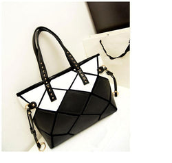 Purses/Wallets - Patchwork Square PU Leather Large Women Totes Black White Leopard Shoulder Bag