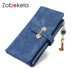 Purses/Wallets - Women Nubuck Leather Money Clip Tassel Zipper Clutch