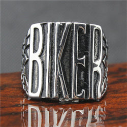 Rings (m) - 316L Stainless Steel Silver BIKER Ring Mens Motorcycle Biker Ring