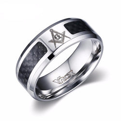 Rings (m) - Black Stainless Steel Masonic Ring