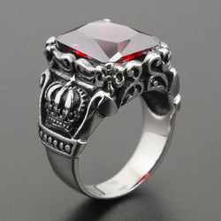 Rings (m) - Red CZ Stone 316L Stainless Steel Crown Mens Biker Rocker Punk Ring