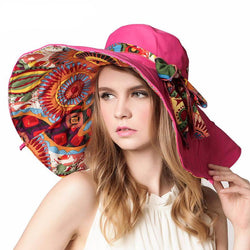 Scarfs/Wraps - Fashion Design Flower Foldable Brimmed Sun Hat