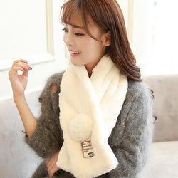 Scarfs/Wraps - Pure Color Faux Rabbit Fur Collar Scarf