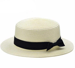 Scarfs/Wraps - Women's Flat Sun Bow Straw Hats For Beach Headwear (12 Colors)