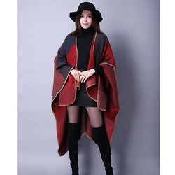 Scarfs/Wraps - Women's Winter Poncho Vintage Blanket Women's Lady Knit Shawl Cape Cashmere Scarf Poncho