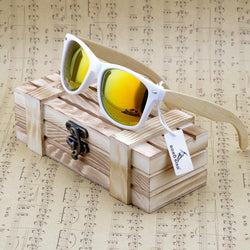 Sunglasses - Rectangular Genuine Real Bamboo Wood Polarized Sunglasses W/Reflective Mirror Tint (Unisex)