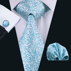 Ties - Classic Business Novelty 100% Silk Necktie Hanky Cufflinks Sets