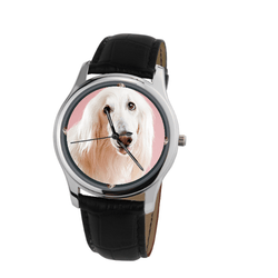 Watch - Afghan Hound Unisex Silver Wrist Watch- Free Shipping