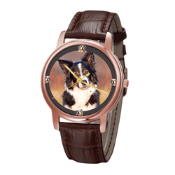 Watch - Australian Shepherd Print Unisex Rose Gold Wrist Watch - Free Shipping