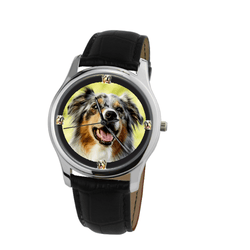 Watch - Australian Shepherd Print Unisex Silver Wrist Watch - Free Shipping