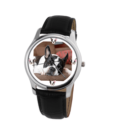 Watch - Boston Terrier Unisex Silver Wrist Watch- Free Shipping