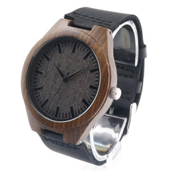 Watches (m) - Bamboo Natural Ebony W/Real Leather Quartz Watch