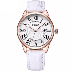 Watches (w) - Magnifying Glass Rose Gold Case Leather Strap Watch