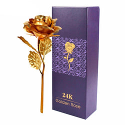Wedding - Dipped Rose Gold Foil Plated Plastic 24K Artificial Flower Gift 25*8cm For Valentine Day