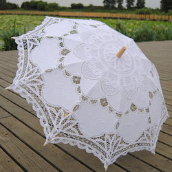 Wedding - Vintage Lace White Umbrella Wedding Bridal Lace Umbrella