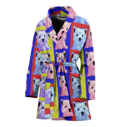 West Highland White Terrier Dog Color Pattern Print Women's Bath Robe-Free Shipping