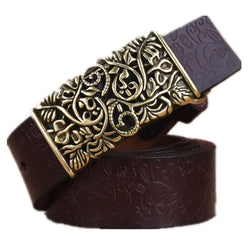 Women Compliments - Carved Design Retro Metal And Leather High Quality Belt