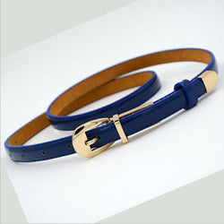 Women Compliments - Leather Candy Color Metal Buckle Thin Casual Waistband Cummerbund Belts