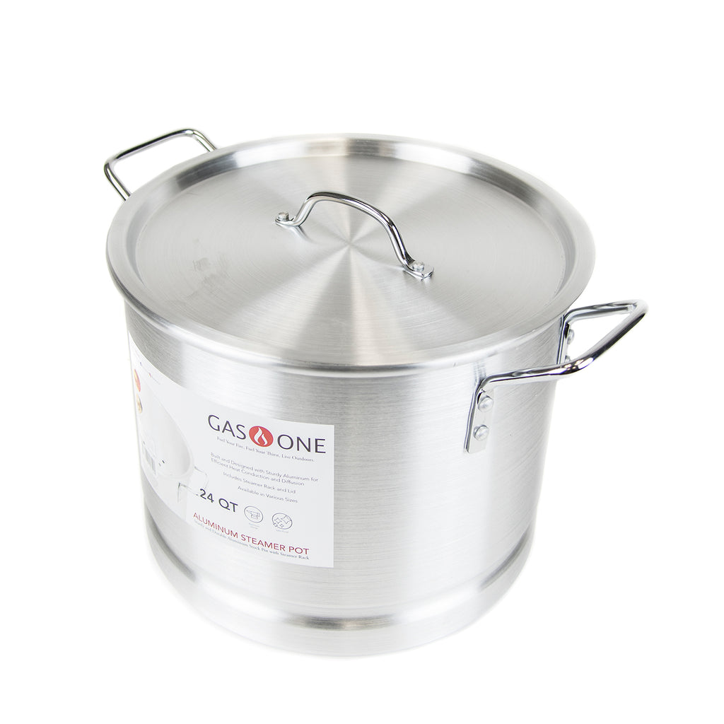 High Pressure Propane Burner and 24 QT Aluminum Steamer Pot Bundle