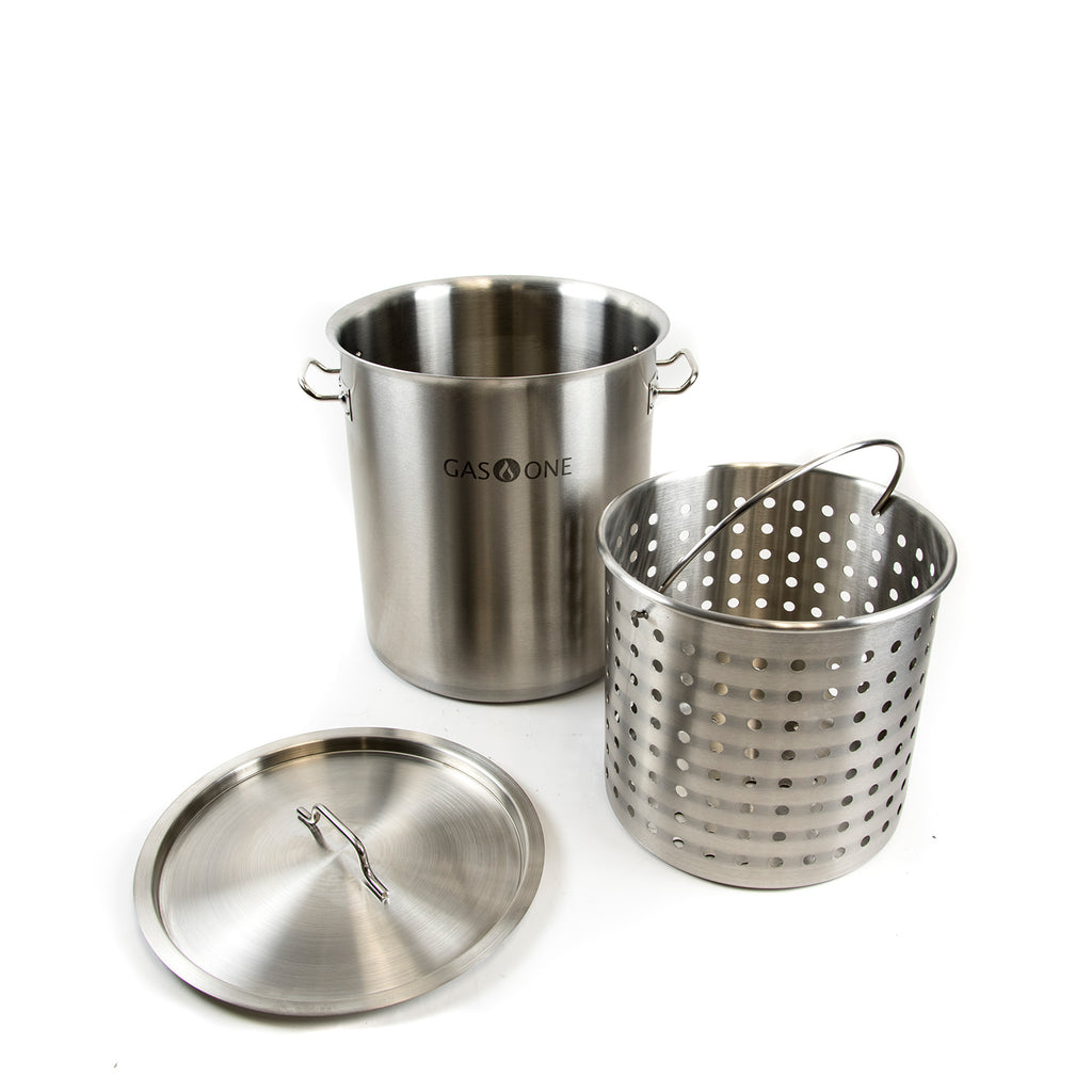 Stainless Steel Turkey Frying Pot w/Steamer Basket 32 QT/ 8 Gal (#TP-32)