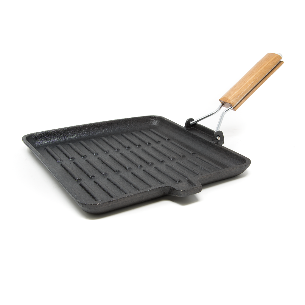 EG-02 Cast Iron Square Griddle w/Foldable Grip