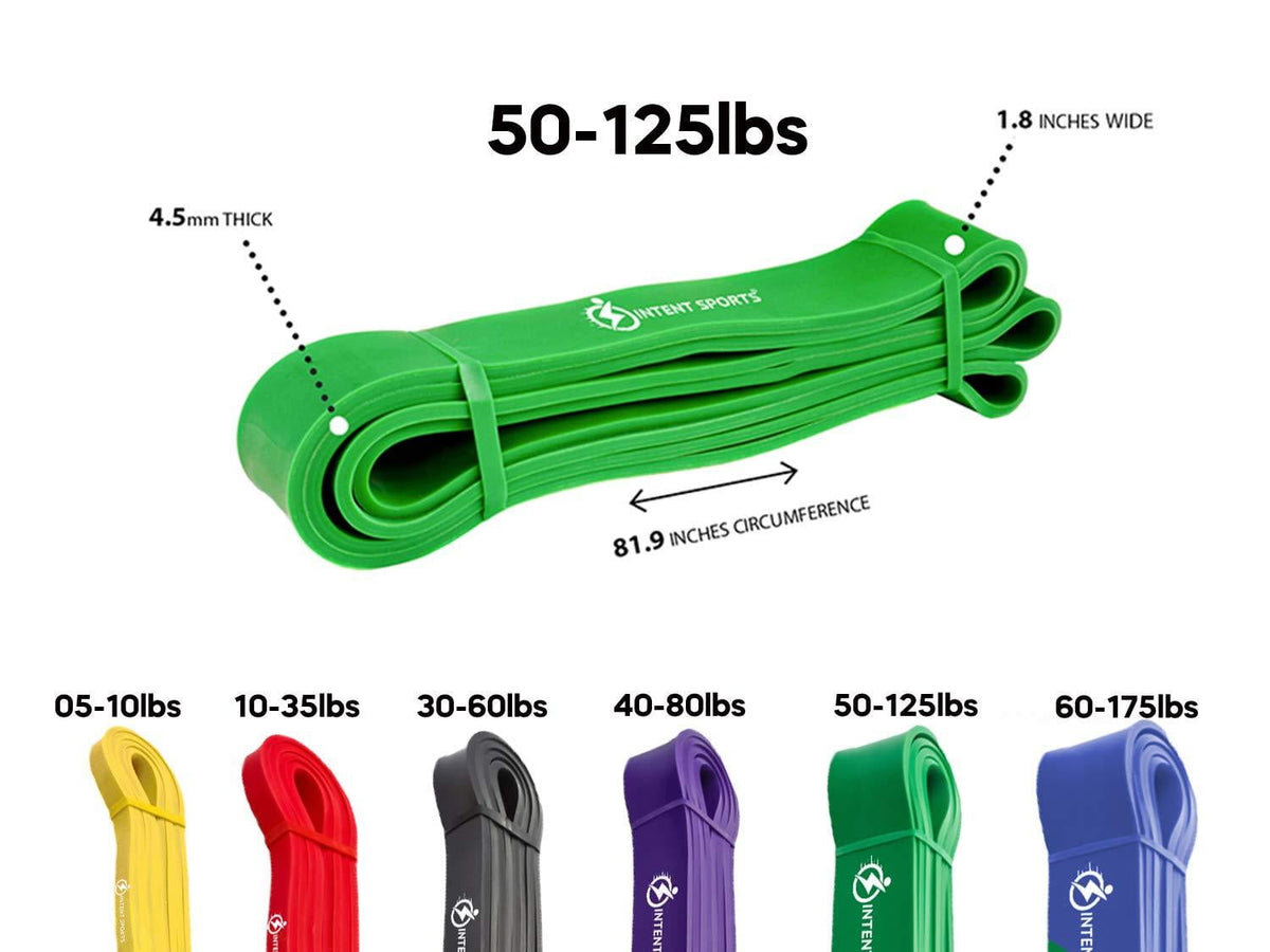 "Pull Up Assist Bands - Green - 50 to 125 Pounds (1.75"" *4.5mm) - Intent Sports"