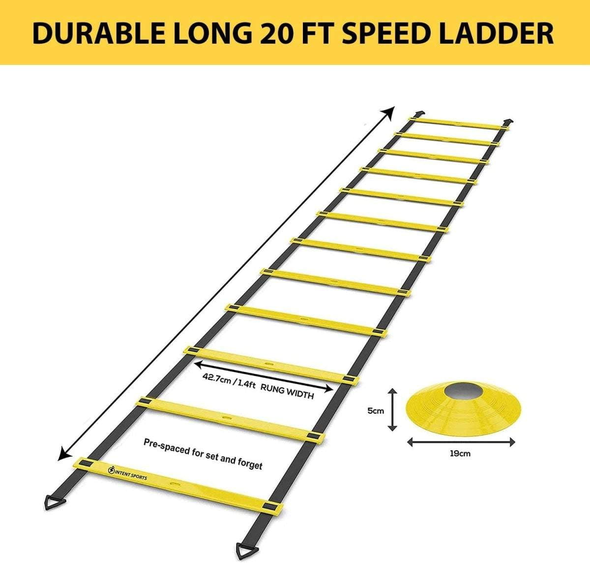 Agility Ladder 20ft and 10 Cones - Intent Sports