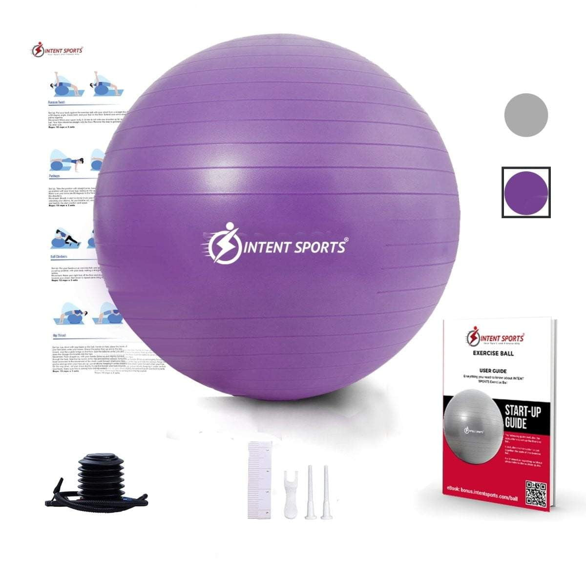 Exercise Ball Chair with Inflation Pump - Intent Sports
