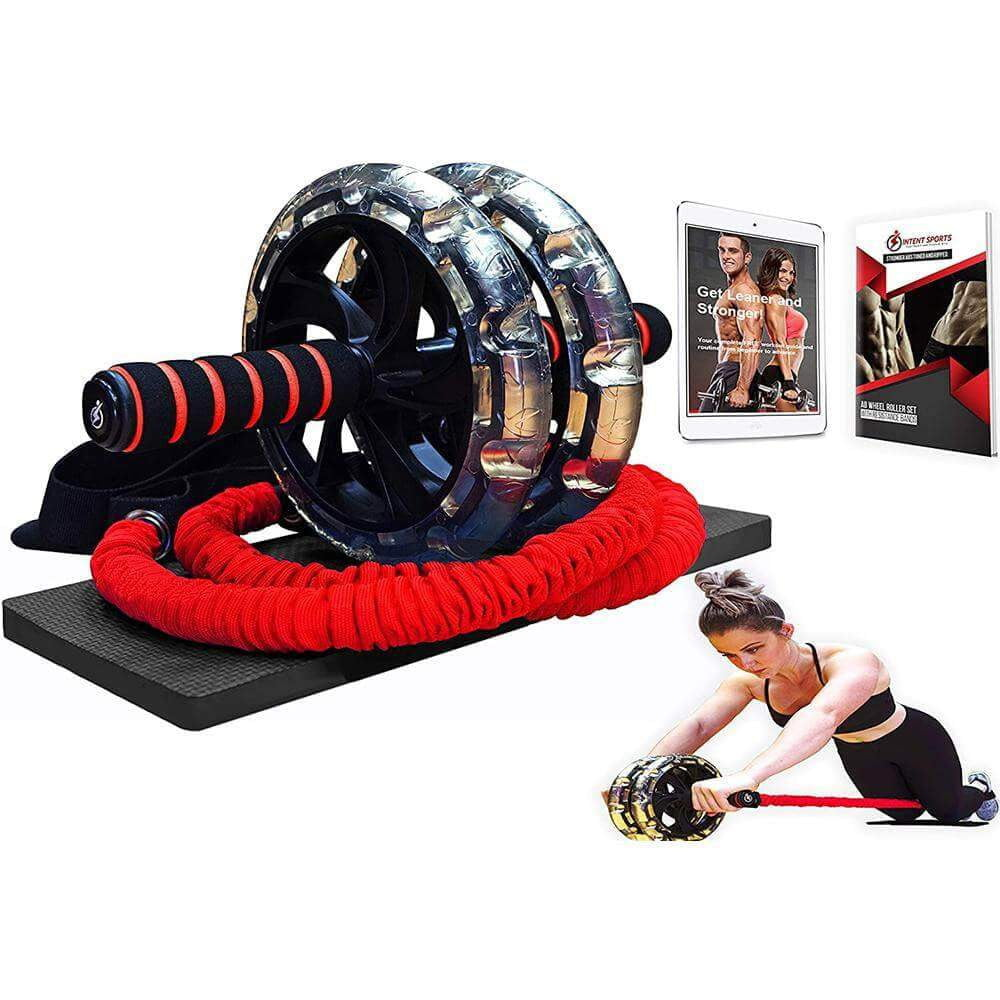 Multi Functional Ab Roller Wheel KIT with Resistance Bands - Intent Sports