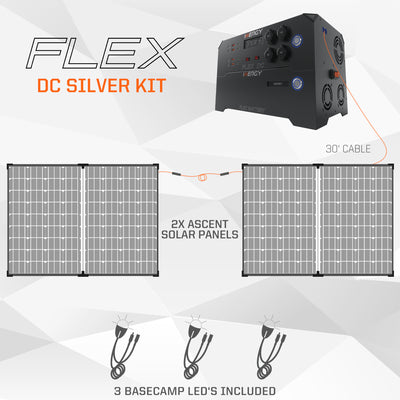 Silver Kit—Inergy Flex DC Power Station with 2 Ascent 100 Folding Panels (20% PRE-SALE DEPOSIT)