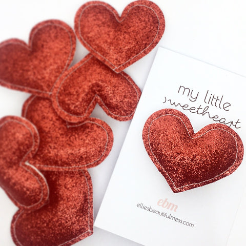 Glittery heart Pin Badge