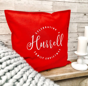 Personalised Red Christmas Cushion Cover