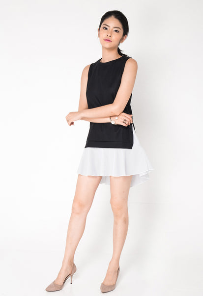 2 Piece Highlow Hem Dress - Black
