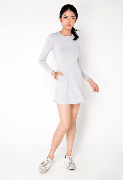 Heather Grey Cut out back Dress