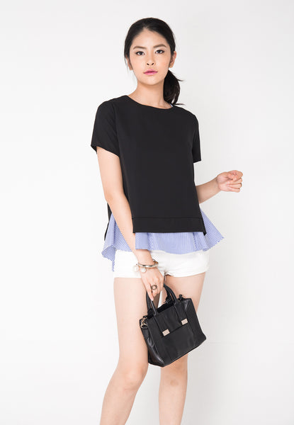2 Piece Sleeved Top - Black